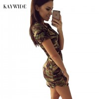 New Dress Short Sleeve Sexy Mini Green Camouflage Print
