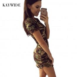 New Dress Short Sleeve Sexy Mini Green Camouflage Print