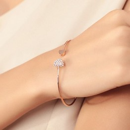 2018 Hot New Fashion Adjustable Crystal Double Heart Bow Bilezik Cuff Opening Bracelet Women Jewelry Gift Mujer Pulseras