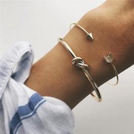 2PCS/SET Vintage Open Arrow Knotted Charms Bracelet