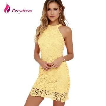 Berydress Womens Elegant Wedding Party Sexy Night Club Halter Neck Sleeveless Sheath Bodycon Lace Dress Short32727205800