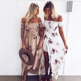 New Off Shoulder Boho Style Maxi Dress Floral Print