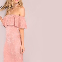 Beautiful Pink Faux Suede Off The Shoulder Ruffle Dress