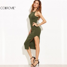New Sexy Bodycon Side Slit Ribbed Dress