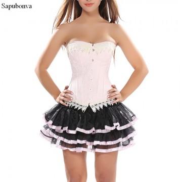 Corset Dresses For Women Gothic Victorian  Lolita Mesh Sexy Hot Women Corset Bustier Skirt Set Burlesque Costumes Pink Plus Size