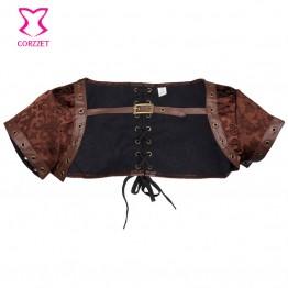 Steampunk Faux Leather Short Sleeve Plus Size Corset Jacket