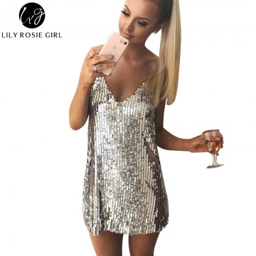 Deep V Neck Autumn Silver Sequined Backless Sexy Dress Women Off Shoulder Mini Dress Christmas Party Club Strap Dresses Vestidos32787522027