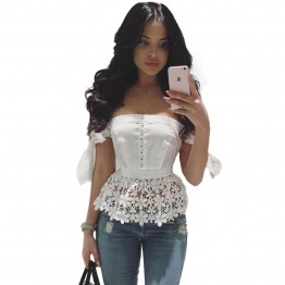 Elegant Sexy Bow Off Shoulder Top Beading