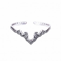 FAMSHIN 2017 Fashion Retro Plated Silver Jewelry Bohemian Opening Hollow Pattern Lace Backwards Crown Bracelet Bangles For Women