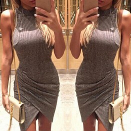 Elegant Gray Sleeveless Knitted Casual Bodycon Dress