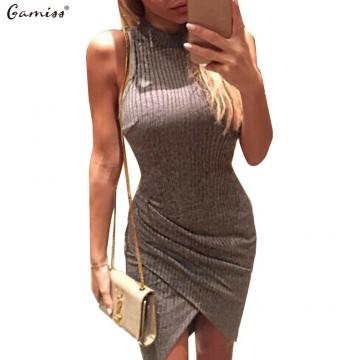 Gamiss Elegant Gray Sleeveless Knitted Casual Dress Women Evening Party Bodycon Dress GirlsLadies Spring Short Pencil Vestidos32642621972