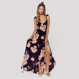 Floral Print Split Skirt Maxi Dress