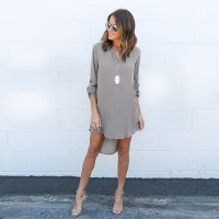 New Elegant Casual Loose Long Sleeve Irregular Hem Dress