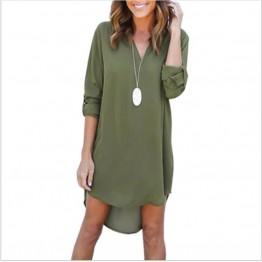New Elegant Casual Loose Long Sleeve Irregular Hem Dress