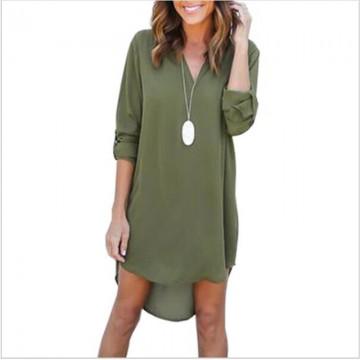 High Quality Autumn Dresses 2017 Fashion Women Casual Loose Plus Size Elegant Dress Long Sleeve Irregular Chiffon Dress Vestidos32713917329