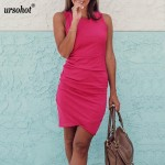 Summer Sleeveless Ruched Tank Dress