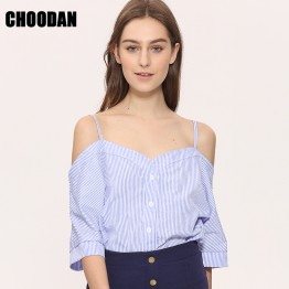 New Striped Off Shoulder Blouse