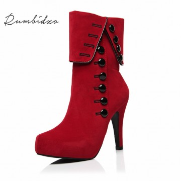 Rumbidzo Fashion Women Boots 2017 High Heels Ankle Boots Platform Shoes Brand Women Shoes Autumn Winter Botas Mujer Femininos32326152594