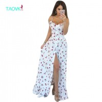 Cherry Printing White Empire Strapless Floor Length Dress