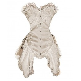 Elegant Satin Princess Overbust Corset with Skirt