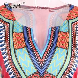 New Short V-neck Tribal Print Dress