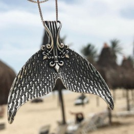 Antique Silver Mystical Mermaid Pendant Necklace