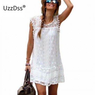 UZZDSS Summer Dress 2017 Women Casual Beach Short Dress Tassel Black White Mini Lace Dress Sexy Party Dresses Vestidos S-XXL32777527172