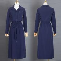 New Long Sleeve Maxi Dress Collar Buttons Open Slit Green & Blue