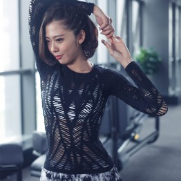 New Mesh Hollow Out Yoga Top Full Sleeve Quick Dry