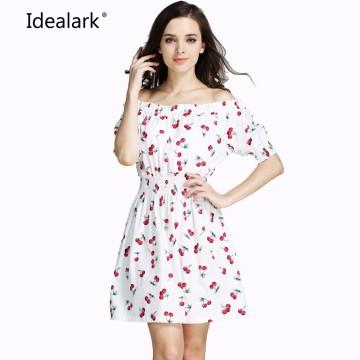 pure cotton New 2017 cherry summer autumn Women Dress ukraine Casual sexy wide boat neck beach Dresses maxi Vestidos WC0584-132666058581